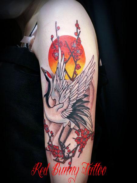鶴と梅の刺青・タトゥーデザイン