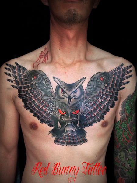 ふくろうと鬼のタトゥーデザイン owl&devil tattoo