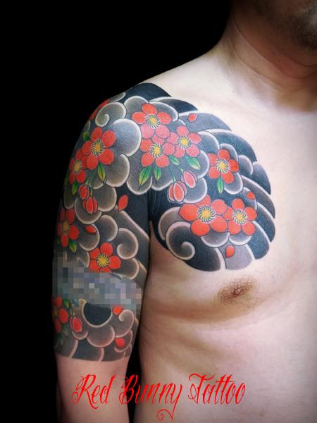 桜散らし・桜吹雪の刺青・和彫り・タトゥーデザイン