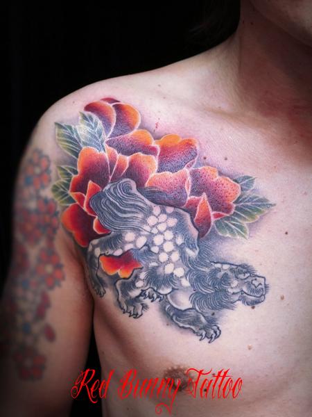 唐獅子牡丹の刺青・タトゥーデザイン 対のデザイン