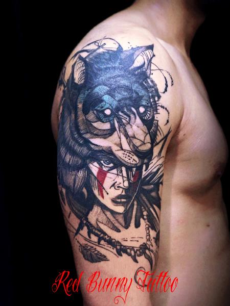 狼 もののけ姫 タトゥーデザイン 女性 wolf girl tattoo