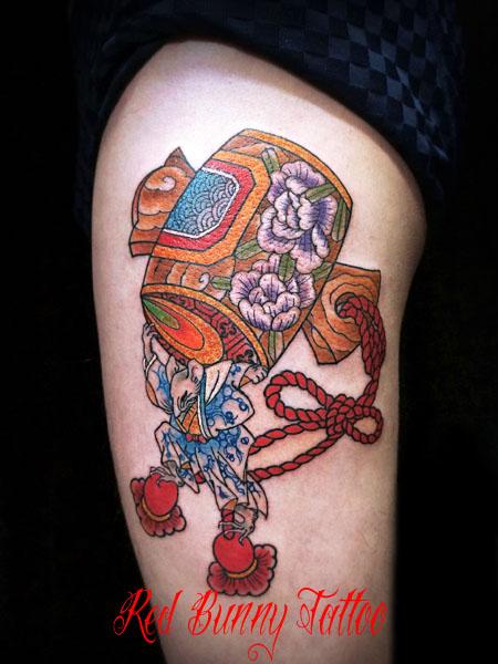 打ち出の小槌とねずみの刺青・タトゥーデザイン 大黒天・縁起物