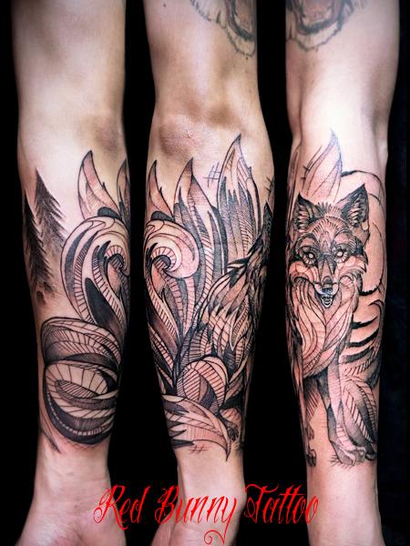 九尾の狐のタトゥーデザイン デッサン
