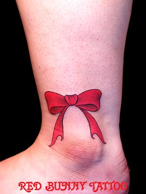 リボンのタトゥーデザイン 足首・ワンポイントタトゥー girl tattoo