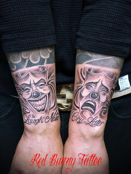 ツーフェイスのタトゥーデザイン 対のタトゥーデザイン two face tattoo