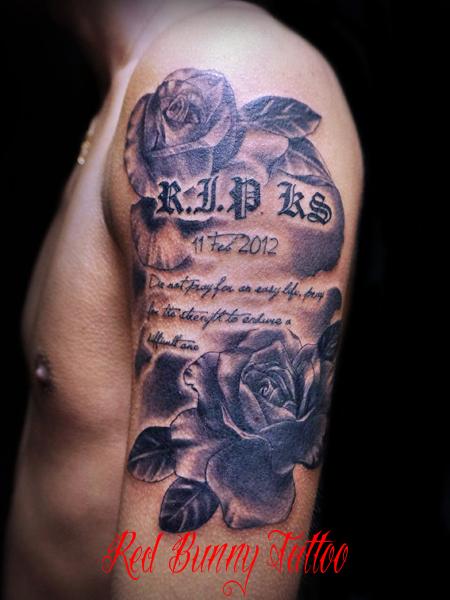 バラと文字のタトゥーデザイン 花・メッセージ・letter tattoo