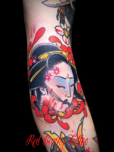 生首と菊の刺青・タトゥーデザイン