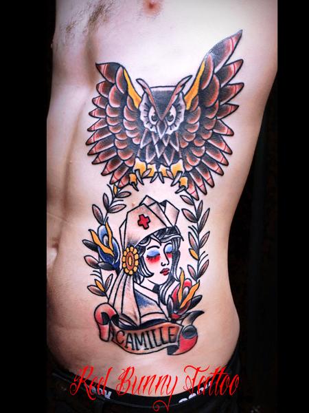 owl nurse tattoo アメリカントラッド