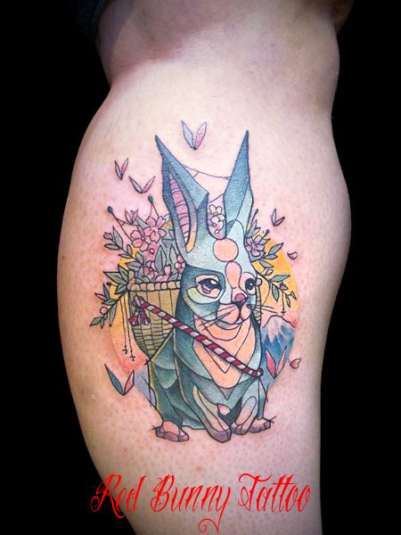 パステルカラー・ウサギのタトゥーデザイン マグヌス デザイン