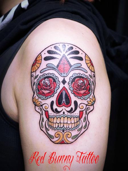 シュガースカル・メキシカンスカルのタトゥーデザイン skull