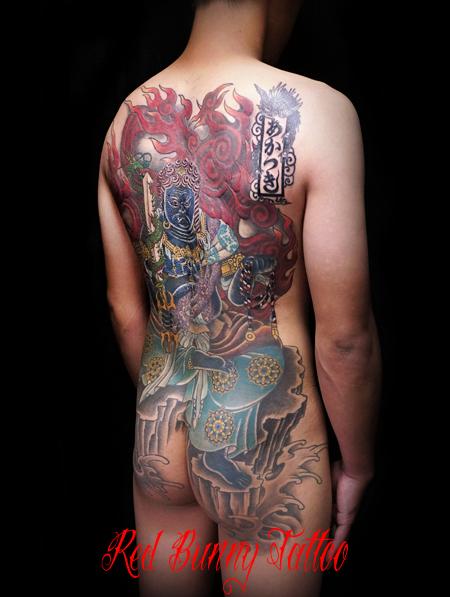 不動明王 刺青・和彫りのデザイン 背中一面