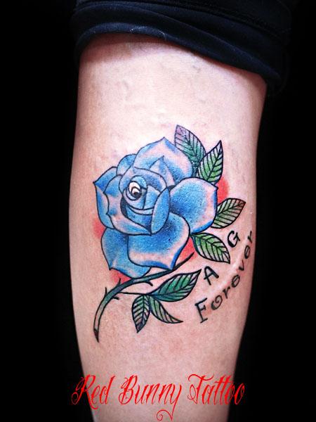 青いバラのタトゥーデザイン  blue rose tattoo