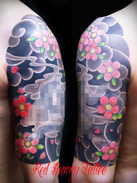 桜散らし 和彫り 額彫り 刺青 japanese style tattoo