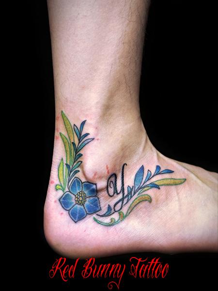 花とツタ模様のタトゥーデザイン ペア・お揃いのタトゥーデザイン