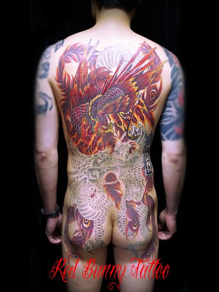 鳳凰 龍 刺青 和彫り タトゥーデザイン 白筋 japanese tattoo