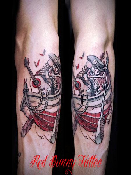 舟を漕ぐギターを背負った骸骨のタトゥーデザイン ship&skelton tattoo マグヌス