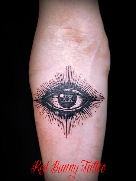 目とローマ数字のタトゥーデザイン  eye tattoo