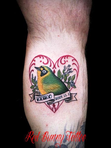 鳥 メグロ タトゥーデザイン お揃い カップル メモリアル タトゥー