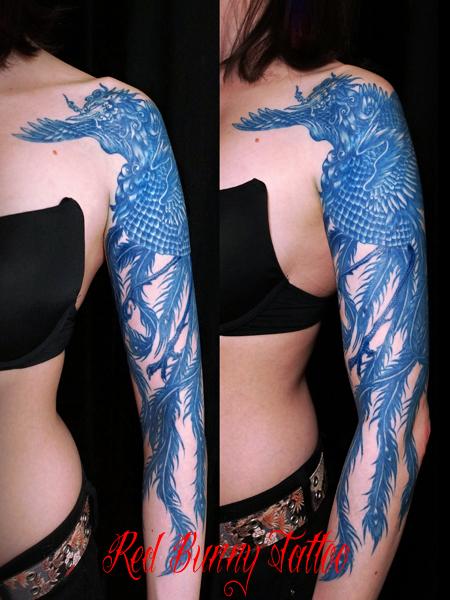 青い鳳凰 刺青・タトゥーデザイン