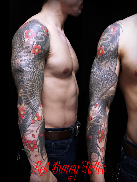 鳳凰と桜の刺青・タトゥーデザイン japanese phoenix tattoo