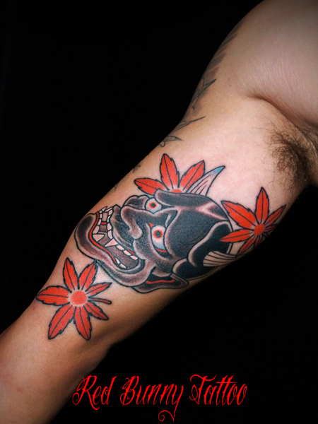 般若と紅葉の刺青・タトゥーデザイン