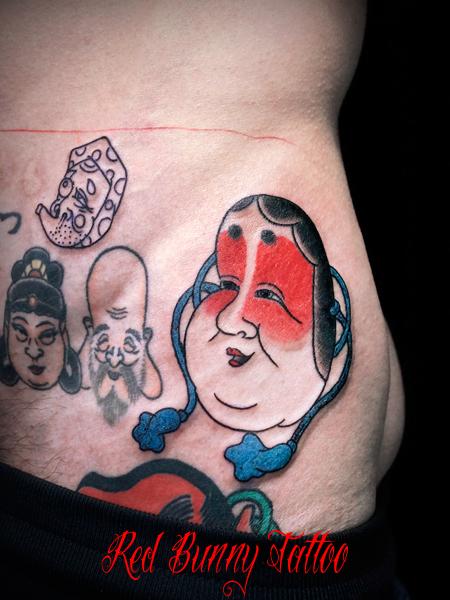 おかめ、お多福、お面の刺青 タトゥーデザイン 縁起物 japanese mask tattoo 般若
