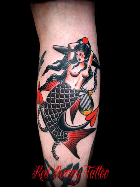 マーメイド(人魚)とアンカー(錨)の刺青・タトゥーデザイン アメリカントラディショナル mermaid-american-trad-tattoo-anchor