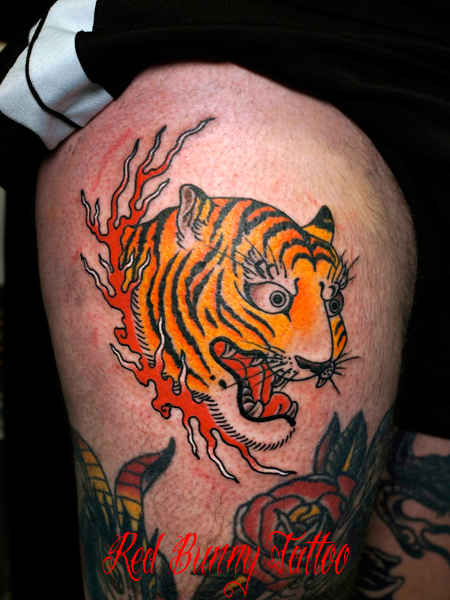 虎・タイガーの刺青・タトゥーデザイン アメリカントラディショナル tiger-tattoo-japanese