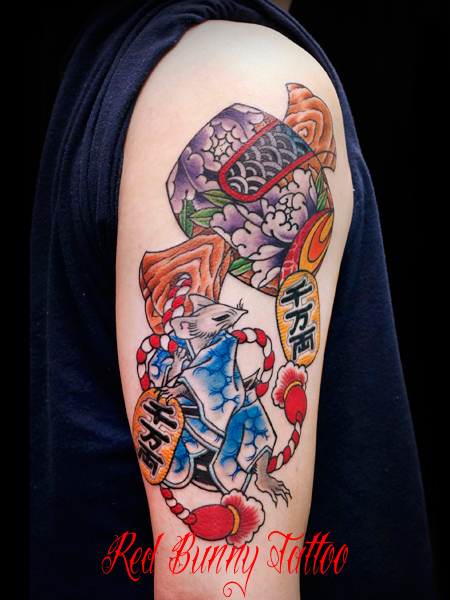 打ち出の小槌・大黒鼠・小判の刺青・タトゥーデザイン 縁起物 lucky tattoo