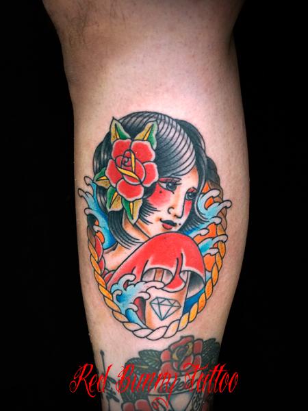 女性 アメリカントラディショナル タトゥーデザイン girl tattoo