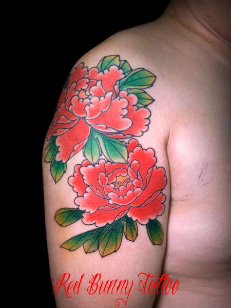 花 牡丹 刺青 タトゥーデザイン japanese flower tattoo
