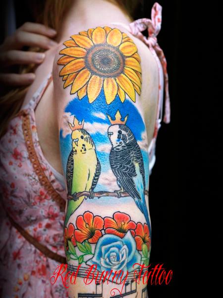 鳥・インコとひまわりのタトゥーデザイン inco sunflower tattoo