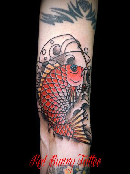 鯛 釣り竿の刺青・タトゥーデザイン fishing tattoo 魚
