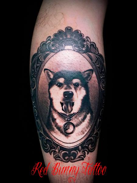 犬のポートレートタトゥー タトゥーデザイン dog tattoo 動物 ペット