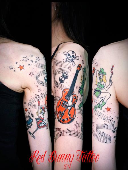 ピンナップガール・グレッチ・楽譜・50's ロカビリー タトゥーデザイン 女性
