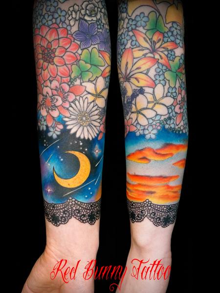 夜空の月・夕日のタトゥーデザイン Moon&Sunset tattoo