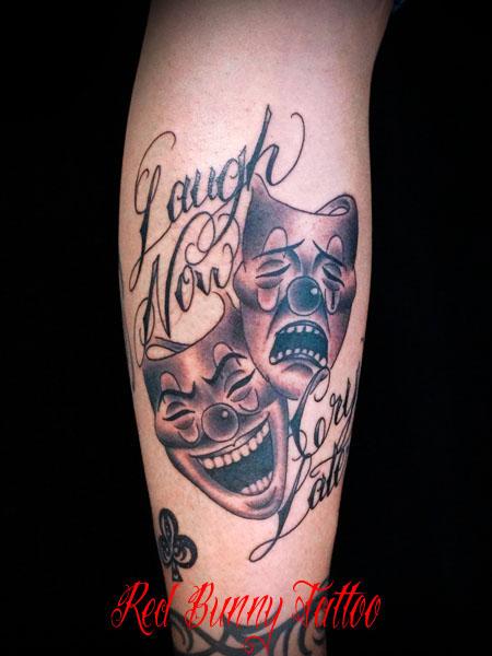 ツーフェイス タトゥーデザイン Two Face Tattoo laugh now cry later