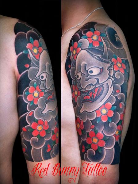 般若 刺青 タトゥーデザイン 和彫り 桜 額足し