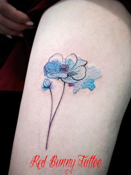 花 ウォーターカラー タトゥーデザイン flower water color tattoo