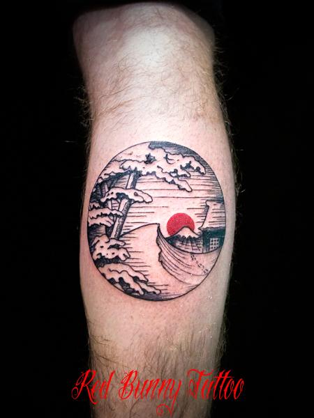 日本の風景 富士山 雪景色 タトゥーデザイン japanese souvenir tattoo