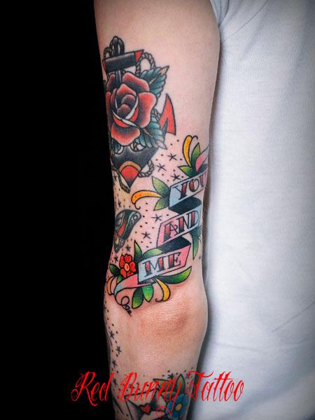 花 文字 アメリカントラディショナル トラッド タトゥーデザイン tattoo