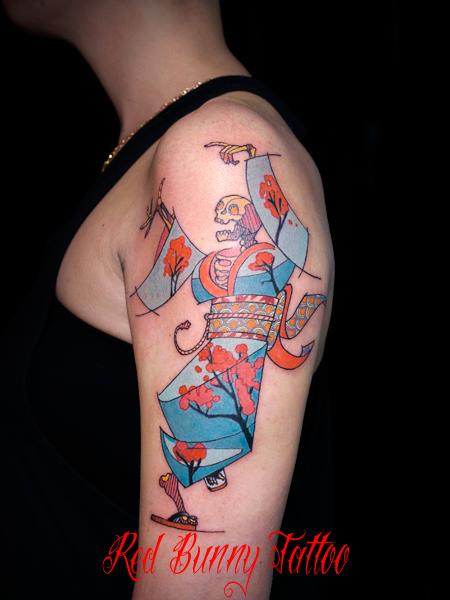 着物を着た踊る骸骨の刺青・タトゥーデザイン dancing skelton tattoo