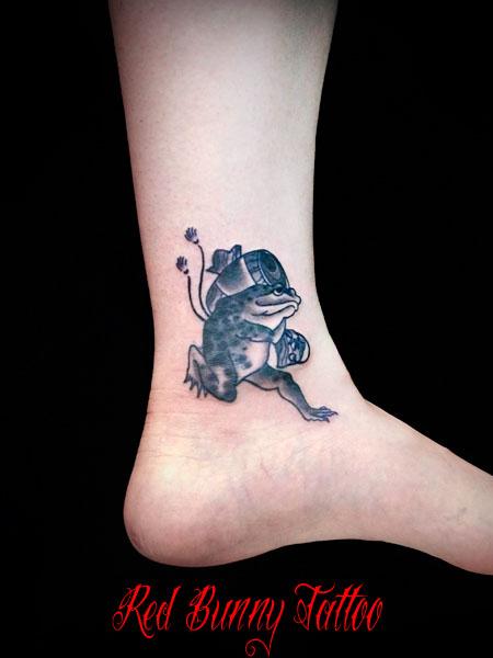 蛙 カエル 打ち出の小槌 タトゥーデザイン 縁起物