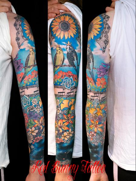 花 インコ 青空 音符 楽譜 鳥 タトゥーデザイン 女性