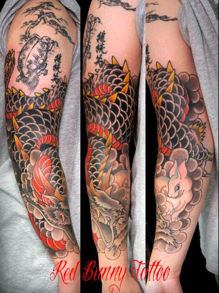 龍と兎の刺青・タトゥーデザイン Dragon&Rabbit tattoo