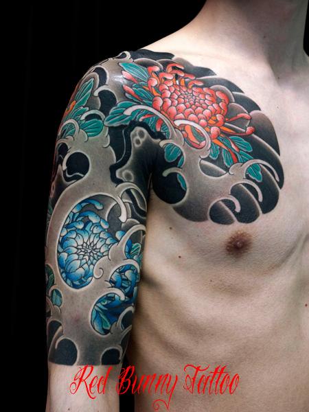菊 波 額彫り 刺青 和彫り 花 japanese style tattoo