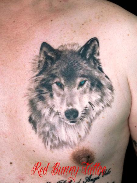 狼・オオカミのタトゥーデザイン wolf tattoo ポートレート 動