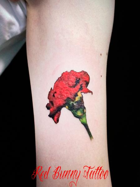 カーネーションのタトゥーデザイン 花・植物 女性 carnation-flower-tattoo