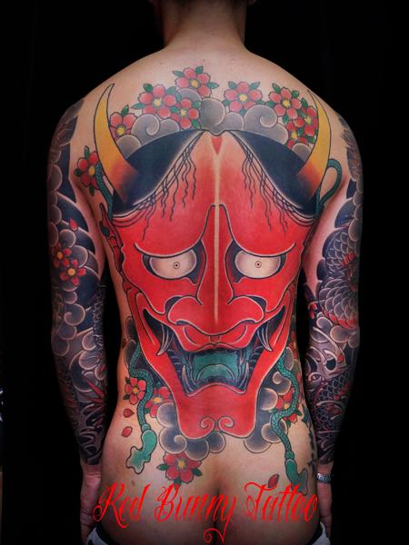 般若 刺青 和彫り 背中一面 タトゥーデザイン 面 hannya mask tattoo