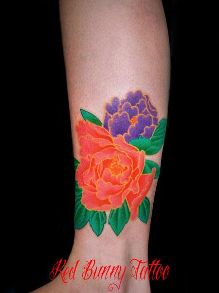 牡丹 花 植物 足首 女性 タトゥーデザイン